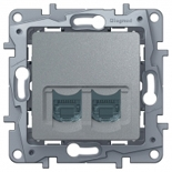 672455 - Розетка интернет RJ-45 двойная, категория 5е, UTP, Legrand Etika (алюминий)