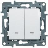 672204 - Выключатель двухклавишный Legrand Etika с подсветкой (белый)