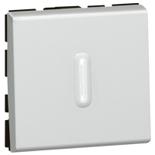 079212 + 067666 - Переключатель 2-модульный на два направления с подсветкой, Legrand Mosaic, 10А (алюминий)