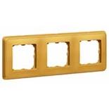773663 - Трехместная рамка, Legrand Cariva (матовое золото)