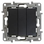 672613 - Выключатель трехклавишный Legrand Etika Plus (антрацит)
