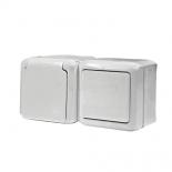 782318 - Блок выключатель + розетка с заземлением и крышкой Legrand Quteo IP44 (белый)