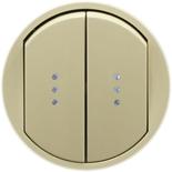 066211 - Лицевая панель для выключателя/переключателя двойного с подсветкой, Легранд Селиан (слоновая кость)