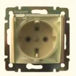 774120 - Розетка электрическая с прозрачной крышкой влагозащищенная  (слоновая кость) Легранд Валена