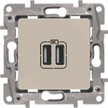 672394 - Розетка USB двойная, 240/5В, 2400мА, Legrand Etika (слоновая кость)