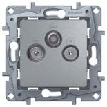 672456 - Розетка TV-R-SAT 2-кабельная простая, 3 выхода, Etika (алюминий)