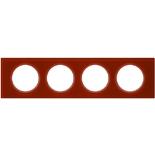 069474 - Рамка 4-постовая Legrand Celiane, прямоугольная, 314х84мм, стекло (смальта кармин)