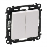 752005 + 755020 - Выключатель простой, двухклавишный Legrand Valena Life (белый)