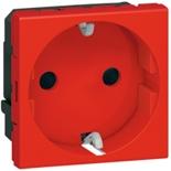 077214 - Розетка электрическая, специальная, с механической блокировкой, Legrand Mosaic (Красный)