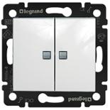774213 - Выключатель двухклавишный Legrand Valena, c 2-мя индикаторами (белый)