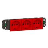 077413 - Розетка тройная с заземлением и механической блокировкой, для кабель-каналов DLP, Легран Мозаик (красная)