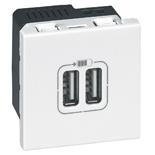077594 - Зарядка USB, двойная, Легран Мозаик (белая)