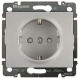771321 + 775920 - Розетка электрическая со шторками и автоматическими клеммами, Legrand Galea Life, 16А (алюминий)