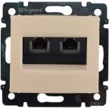 774131 - Розетка двойная Ethernet с захватами Rj45, 5e UTP, Легранд Валена (слоновая кость)
