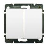775805 + 777012 - Выключатель двухклавишный простой Legrand Galea Life, 10А (белый)