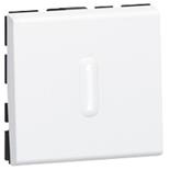 077042 + 067666 - Выключатель кнопочный перекидной с подсветкой, 2-модульный, Legrand Mosaic, 6А (белый)