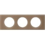 069463 - Рамка 3-постовая Legrand Celiane, прямоугольная, 243х84мм, стекло (смальта мокка)