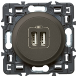 067462 + 067956 + 080251 - Розетка USB двойная с лицевой панелью, Legrand Celiane (графит)