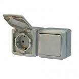 782348 - Блок выключатель + розетка с заземлением и крышкой Легранд Кутео IP44 (серый)