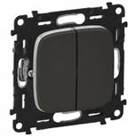 752018 + 755123 - Выключатель кнопочный двухклавишный 6A Legrand Valena Allure (темная нержавеющая сталь)