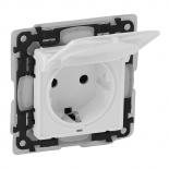 753119 - Розетка электрическая с заземлением, крышкой и шторками ip44 Legrand Valena Life (белый)
