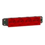 077414 - Розетка четверная с заземлением и механической блокировкой, для кабель-каналов DLP, Легранд Мозаик (красная)