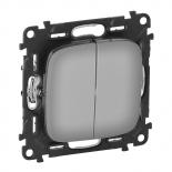 752018 + 755023 - Выключатель кнопочный двухклавишный 6A Legrand Valena Allure (светлая нержавеющая сталь)