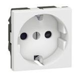077212 - Розетка электрическая с заземлением, защитными шторками  и индикацией модуля Legrand Mosaic (Белый)