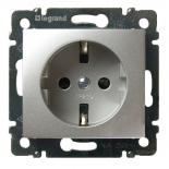 770121 - Розетка электрическая c заземлением со шторкой Легран Валена (алюминий)