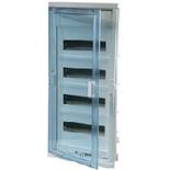 001424 - Щит встраиваемый, 4 рейки, 48+8М, Legrand Nedbox (синяя полупрозрачная скругленная дверь)