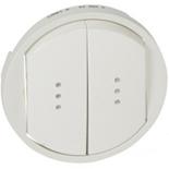 068004 - Лицевая панель для выключателя/переключателя двойного с подсветкой, Легранд Селиан (белая)