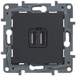 672694 - Розетка USB двойная, 240/5В, 2400мА, Legrand Etika (антрацит)
