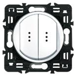 67804 + 067686 (2 шт.) + 067001 (2 шт.) + 080251 - Выключатель двухклавишный с подсветкой влагозащищенный IP44 Legrand Celiane 10А (белый)