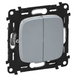 752005 + 755023 - Выключатель двухклавишный простой, автоматические клеммы Legrand Valena Allure (светлая нержавеющая сталь)