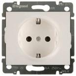 771520 + 775920 - Розетка электрическая с заземлением и автоматическими клеммами, Легранд Галеа Лайф, 16А (жемчуг)