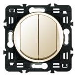 067032 (2 шт.) + 066201  + 080251 - Выключатель двухклавишный кнопочный Legrand Celiane 6А  (слоновая кость)