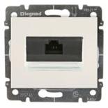 771575 + 775765 - Розетка Ethernet (интернет) RJ45 одинарная, 5e-категория Легранд Галея Лайф (жемчуг), на захватах