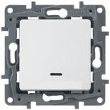 672215 - Выключатель (переключатель) одноклавишный с подсветкой Legrand Etika Plus (белый)