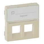 755481 - Лицевая панель для двойных телефонных/информационных розеток с держателем маркировки Legrand Valena Life (слоновая кость)