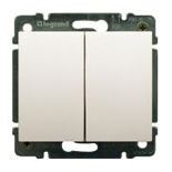 771512 + 775805 - Выключатель двухклавишный простой Легранд Галея Лайф, 10А (жемчуг)
