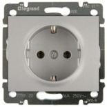 771320 + 775920 - Розетка электрическая с заземлением и автоматическими клеммами, Легран Галеа Лайф, 16А (алюминий)