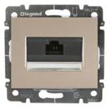 771475 + 775765 - Розетка Ethernet (интернет) RJ45 одинарная, 5e-категория Legrand Galea Life (титан), на захватах