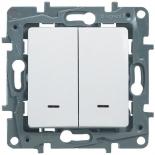 672216 - Выключатель (переключатель) двухклавишный с подсветкой Legrand Etika Plus (белый)