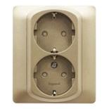 771433 - Розетка электрическая двойная с заземлением и шторками, Legrand Galea Life, автоматические клеммы, титан