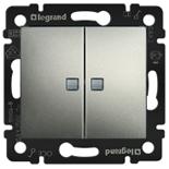 770213 - Выключатель двухклавишный Легран Валена, c 2-мя индикаторами (алюминий)