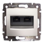 770247 - Розетка двойная Ethernet Rj45 с захватами, 6 UTP, Легран Валена (алюминий)