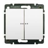 771079 + 775869 - Выключатель двухклавишный с индикацией на 2 цепи Legrand Galea Life, 10А (белый)