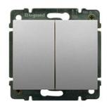 771312 + 775805 - Выключатель двухклавишный простой Легранд Галеа Лайф, 10А (алюминий)