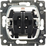 775805 - Механизм двухклавишного переключателя двух нагрузок Legrand Galea Life, 10АХ, без подсветки
