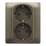 771233 - Розетка электрическая двойная с заземлением и шторками, Legrand Galea Life, автоматические клеммы, тёмная бронза